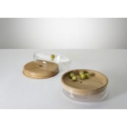 Double Bowl ø 35cm - chêne - glass clear